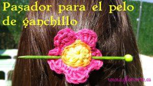 Pasador flor para el pelo de ganchillo