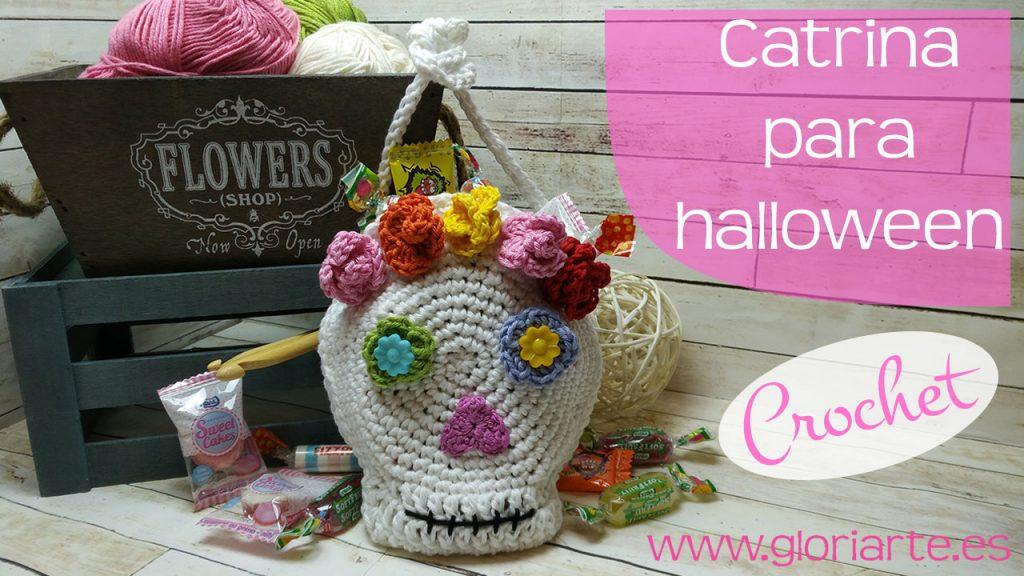 Catrina de crochet para halloween (dulcero para chuches)