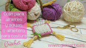 Cojín para agujas y alfileres o alfiletero de crochet