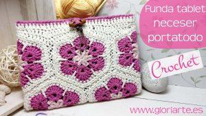 Funda para tablet | Neceser | Portatodo de crochet con flores africanas