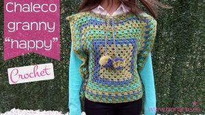 "Chaleco granny de crochet ""happy"""