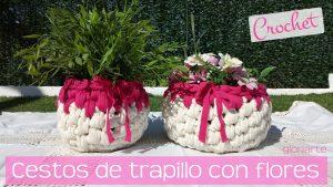 Cestos de trapillo ligero con flores