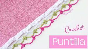 Puntilla de ganchillo para toalla, mantel, paño, etc…
