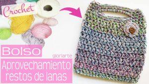 Bolsa crochet de aprovechamiento. Tejida con restos de lanas