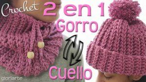 2 en 1 •Gorro|Cuello• de Crochet  más FÁCIL del MUNDO en TODAS la TALLAS
